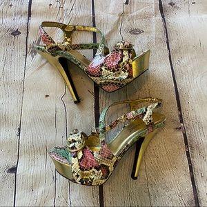 Snake print open toe heels